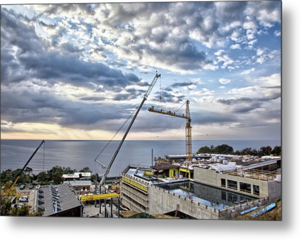 Sky And Cranes Metal Print