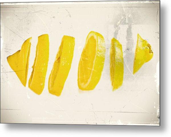 Sliced Lemon Metal Print