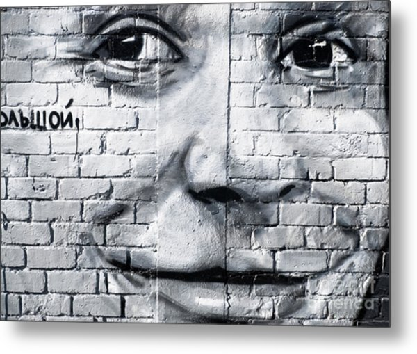 Smiling From The Graffiti Wall Metal Print