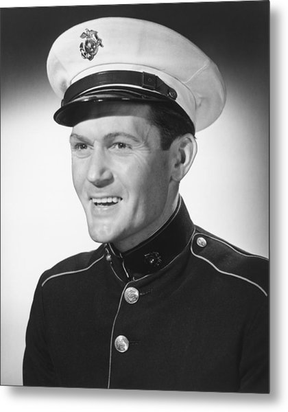 Smiling Man In Military Uniform Posing In Studio, (b&w), Portrait Metal Print by George Marks