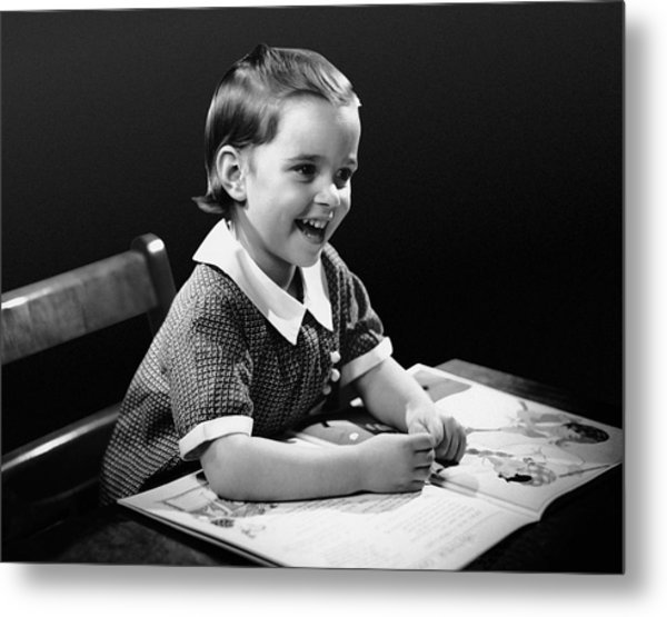 Smiling Young Girl Reading Book Metal Print by George Marks