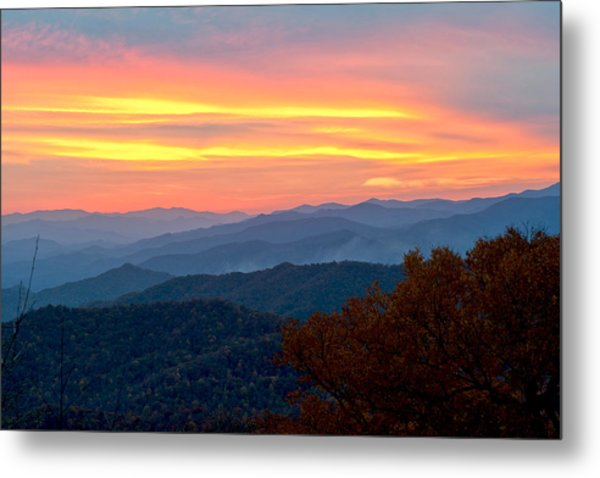 Smoky Mountains Burning Sunset Metal Print