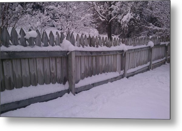 Snow Along A Fence Metal Print by Jeannette Brown