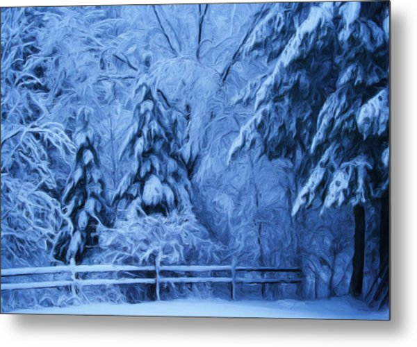 Snow Blanket At Twilight Metal Print