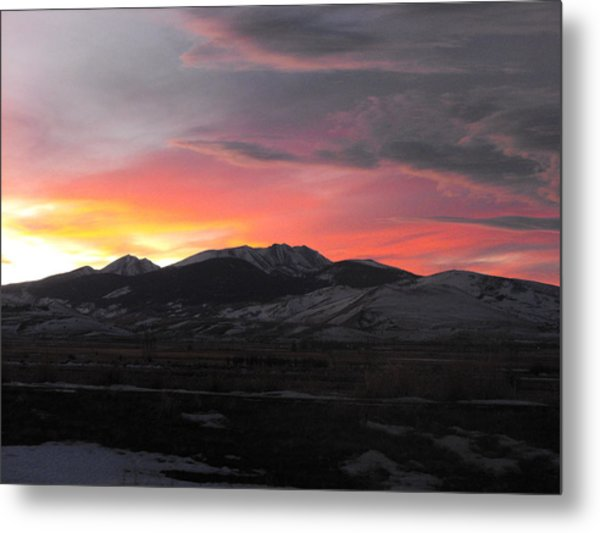 Snow Covered Mountain Sunset Metal Print