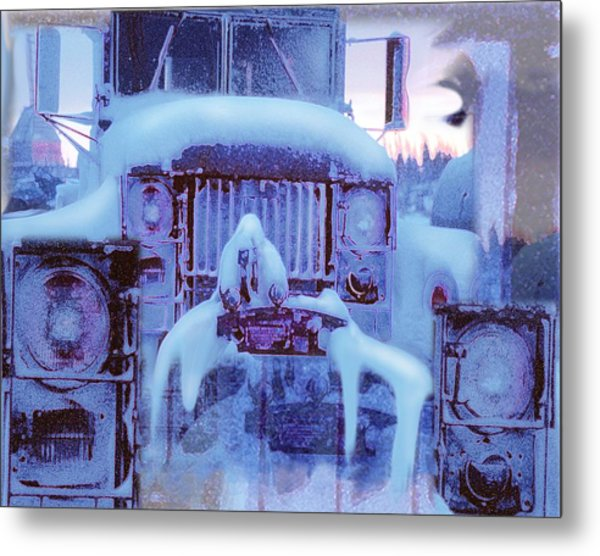 Snowbound Antique Truck Metal Print