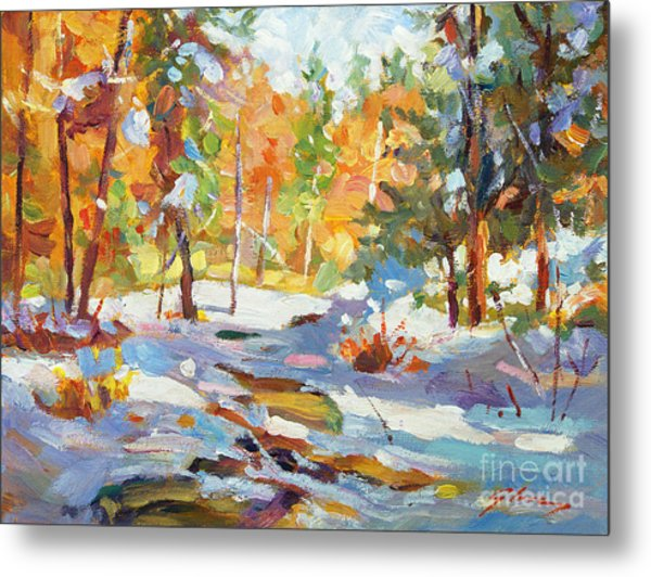 Snowy Autumn - Plein Air Metal Print by David Lloyd Glover