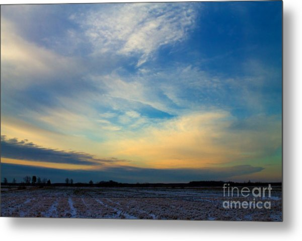 Snowy Field Sunset Metal Print by Ursula Lawrence