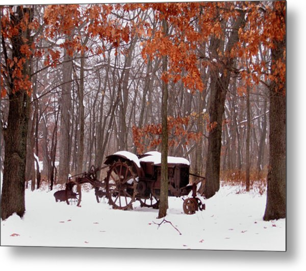 Snowy Implement Metal Print by Ed Golden