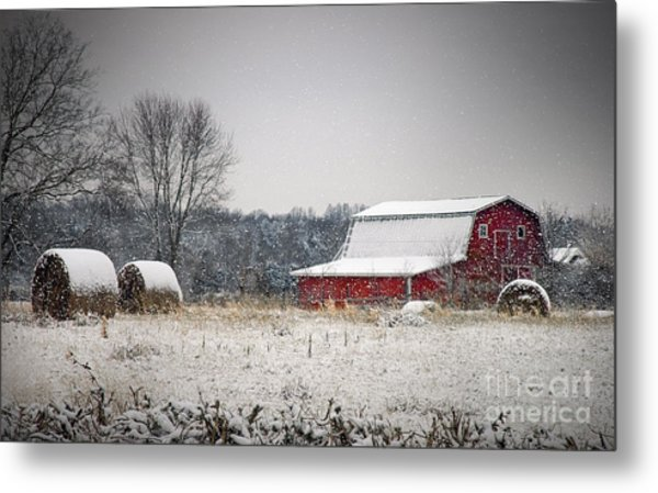 Snowy Red Barn Metal Print