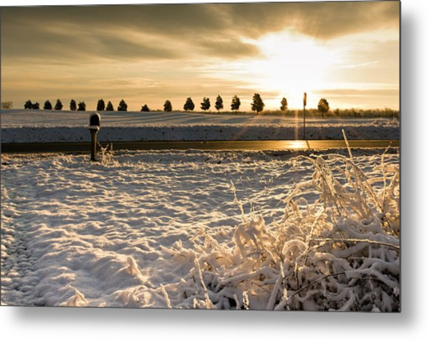 Snowy Sunrise Metal Print