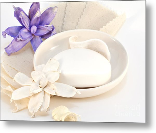 Soap With Flowers Metal Print by Blink Images