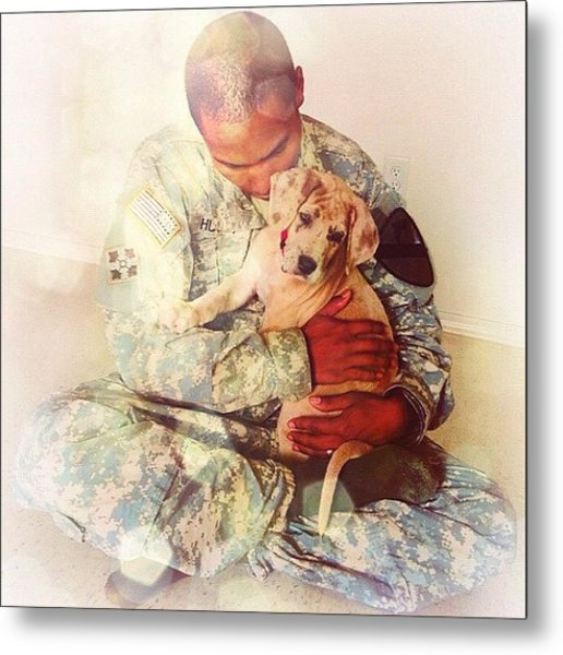 Soldier And His Dog Metal Print