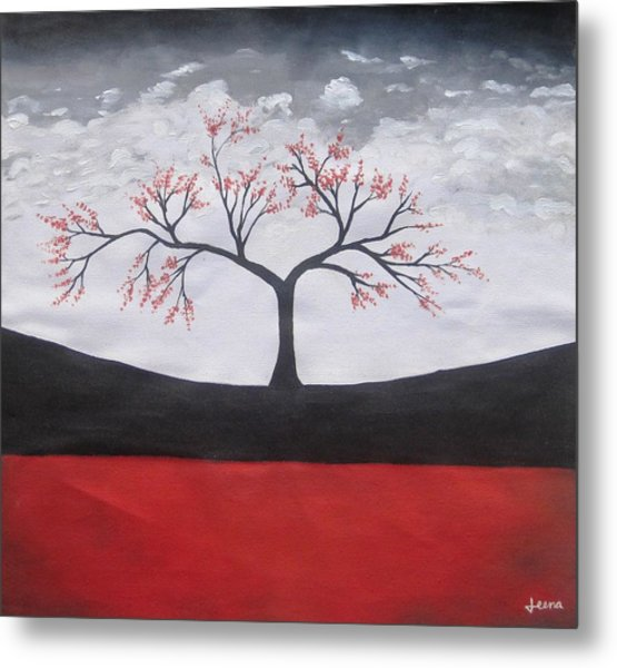 Solitary Tree-oil Painting Metal Print by Rejeena Niaz