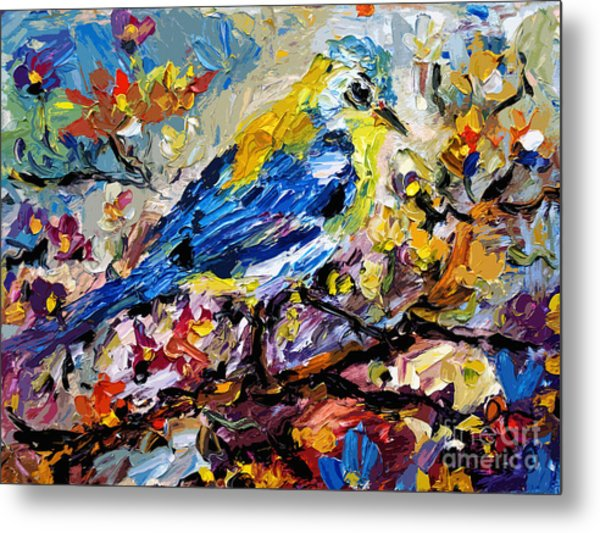 Songbird Blue In A Tree Metal Print