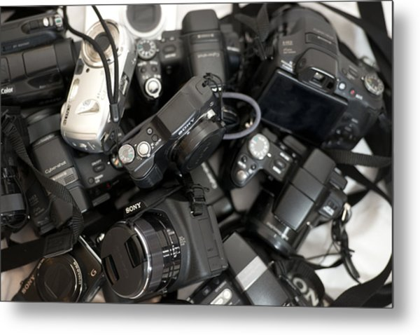 Sony Camera Stack Metal Print by Michael Wilcox