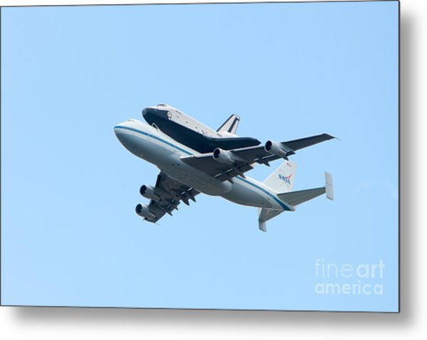 Space Shuttle Enterprise Arrives In New York City Metal Print