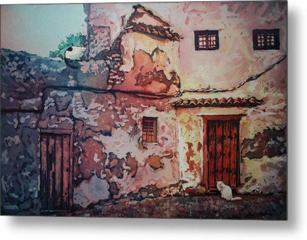 Spanish Courtyard Metal Print by Leslie Redhead