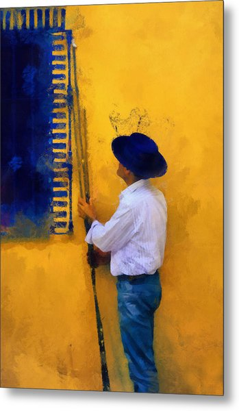 Spanish Man At The Yellow Wall. Impressionism Metal Print