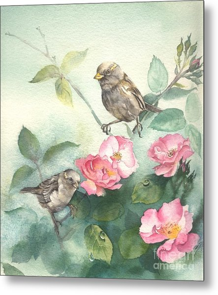 Sparrows And Dog Rose Metal Print