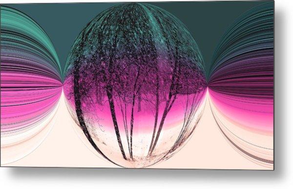 Spherical Snowstorm Metal Print