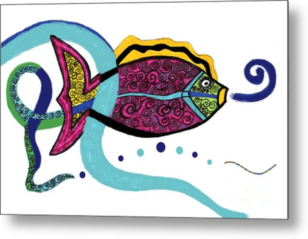 Spiral Fish Metal Print by Christine Perry