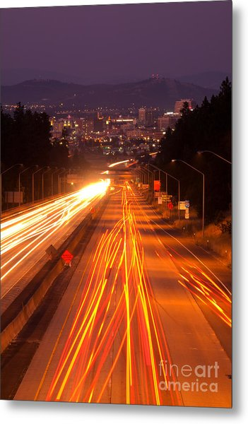 Spokane At Night Metal Print