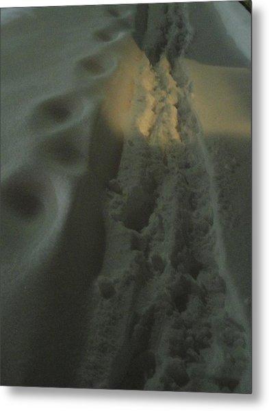 Spotlight On Snow Steps Metal Print by Guy Ricketts
