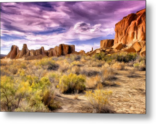 Spring Rain At Chaco Canyon Metal Print