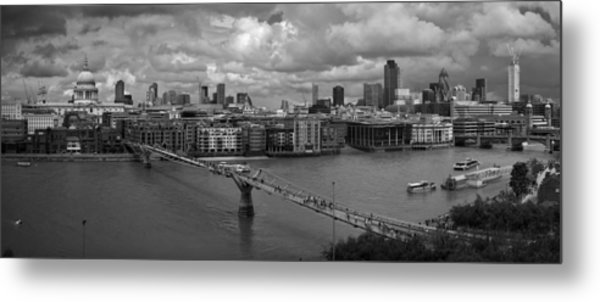 St Paul's And The City Panorama Bw Metal Print