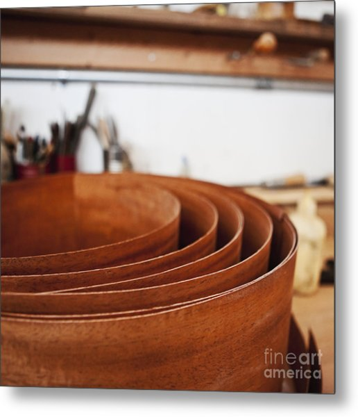 Stack Of Wooden Bowls Metal Print by Jetta Productions, Inc