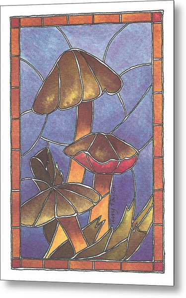 Stained Glass Mushrooms Metal Print