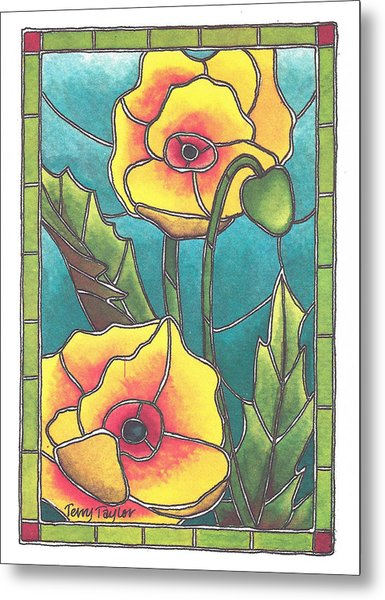 Stained Glass Poppies Metal Print