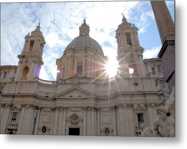 Star Over The Church Metal Print by