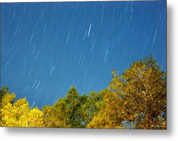 Star Trails On A Blue Sky Metal Print