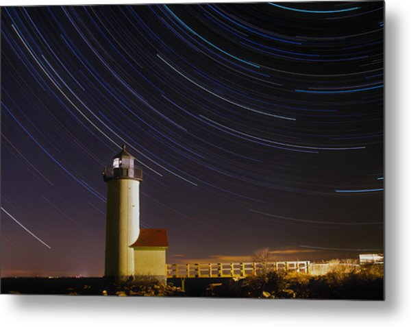 Star-trails Over Annisquam Lighthouse Metal Print