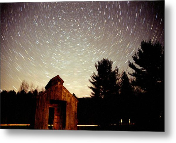 Star Trails Over Sugar Shack Metal Print
