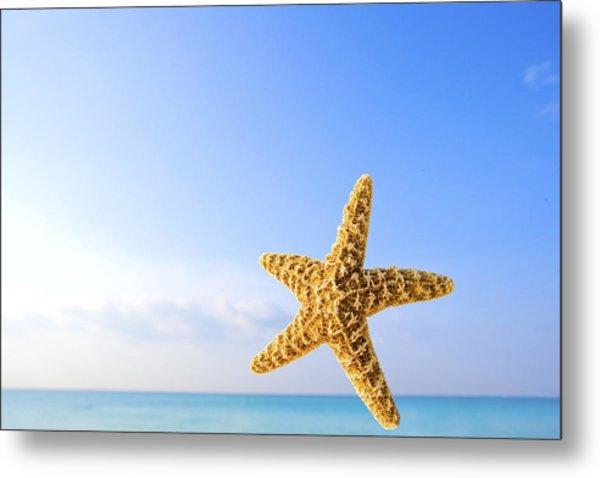 Starfish In Front Of The Ocean Metal Print