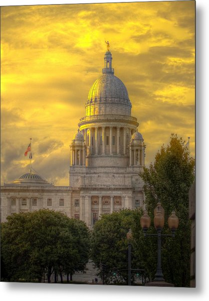 Statehouse At Sunset Metal Print by Jerri Moon Cantone
