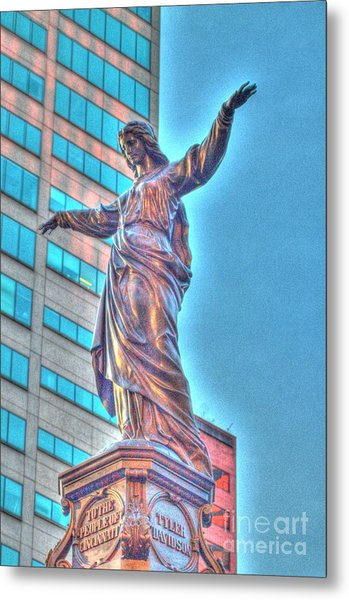 Statue At Fountain Square Metal Print