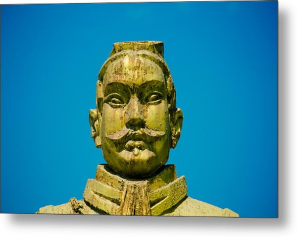 Statue Of Chinese Warrior Metal Print by Pan Hong