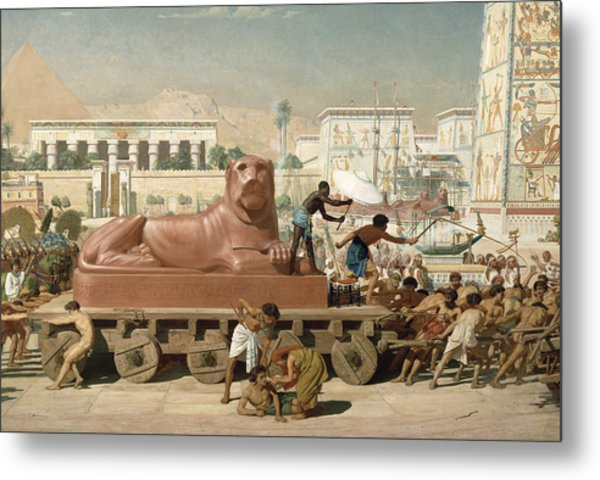 Statue Of Sekhmet Being Transported  Detail Of Israel In Egypt Metal Print