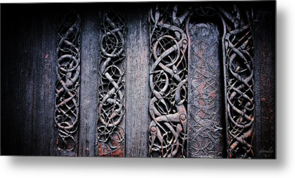 Stave Carving Metal Print by Chad Bromley