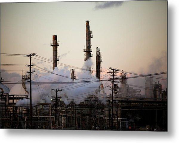 Steam Plumes At Oil Refinery Metal Print by Hal Bergman