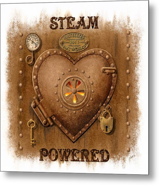 Steam Powered Heart Metal Print