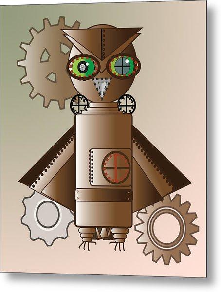 Steam Punk Robot Owl Metal Print