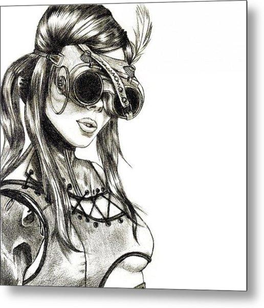 Steampunk Girl 1 Metal Print