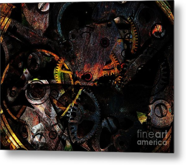 Steampunk Time Piece . Figure 56893f . Instructions For Setting To Daylight Savings Time Metal Print by Wingsdomain Art and Photography