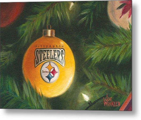 Metal Print featuring the painting Steelers Ornament by Joe Winkler