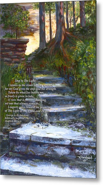 Step To The Light With Poem Metal Print